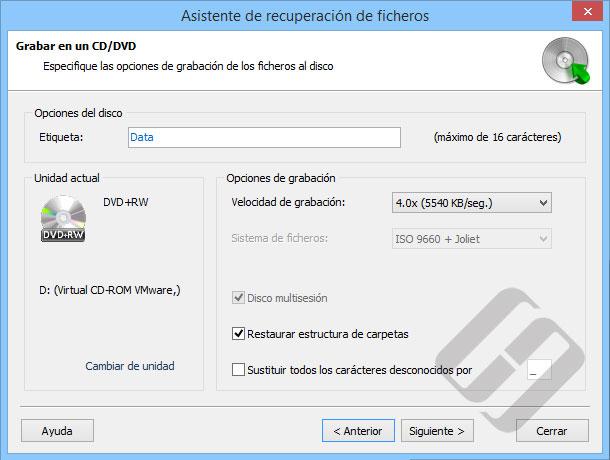 Hetman NTFS Recovery: Opciones de grabación