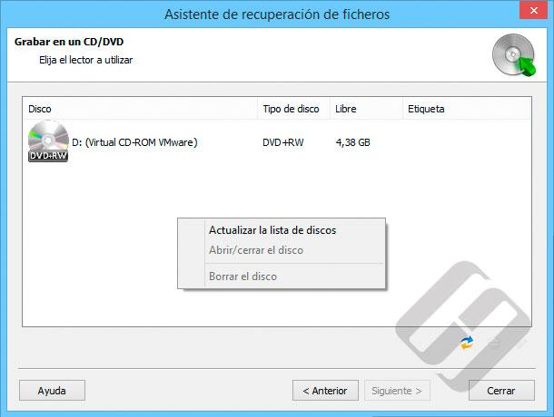 Hetman NTFS Recovery: Selección de CD o DVD-Rom para Burning