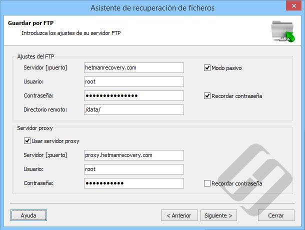 Hetman NTFS Recovery: Opciones del servidor FTP
