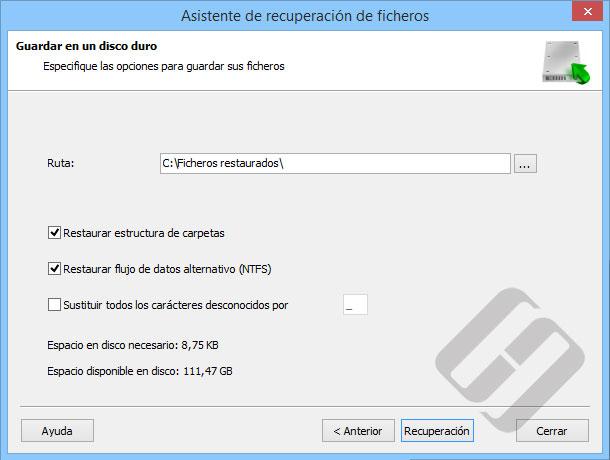 Hetman NTFS Recovery: Guardar archivos en el disco duro