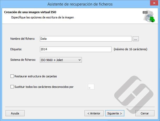 Hetman NTFS Recovery: Opciones ISO