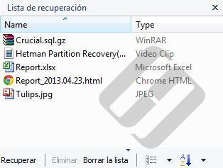 Hetman NTFS Recovery: Lista de archivos