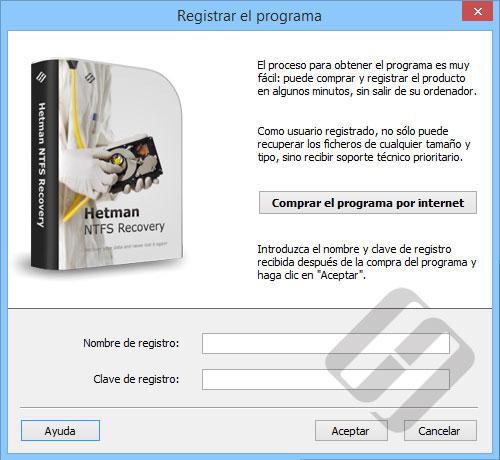 Hetman NTFS Recovery: formulario de inscripción