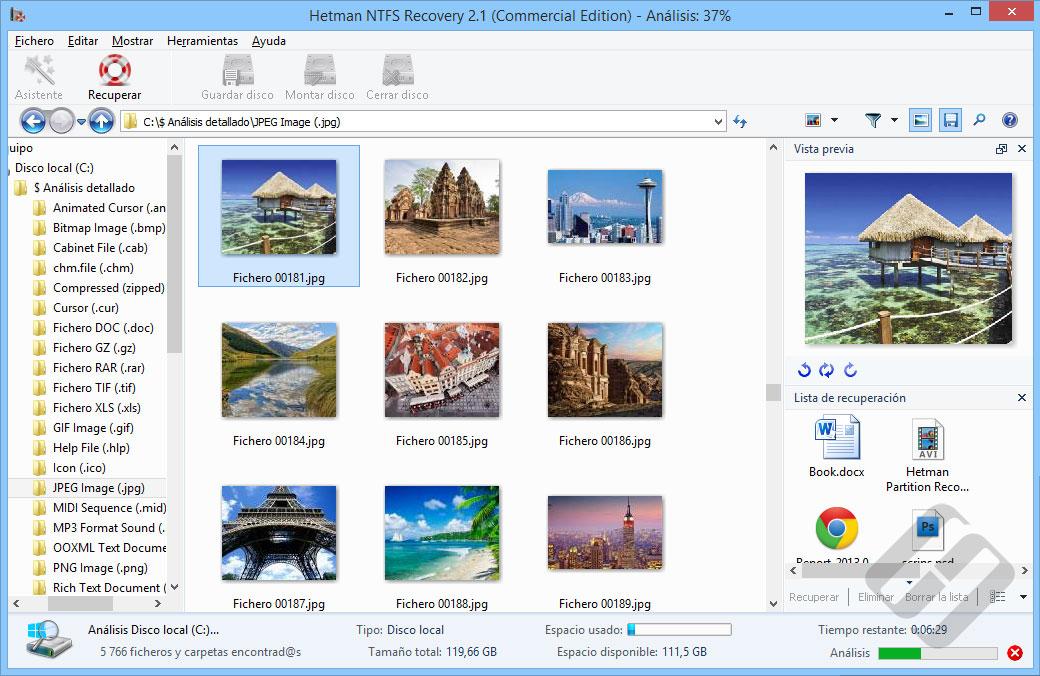 Hetman NTFS Recovery: Pre-Recuperación de vista previa de archivos