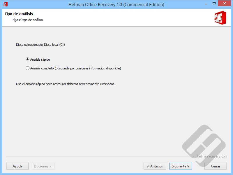 Hetman Office Recovery: Disco de la exploración Formas