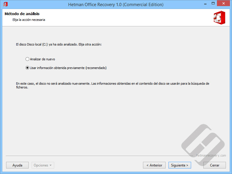 Hetman Office Recovery: volver a analizar el disco