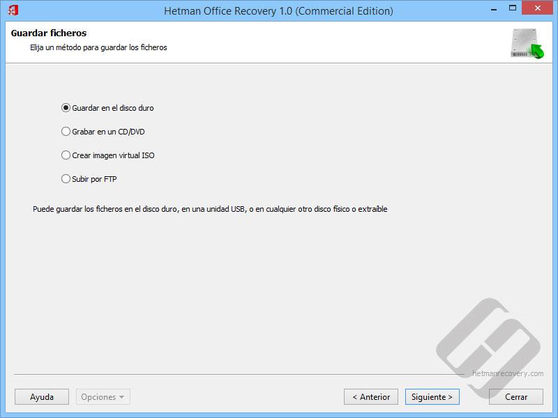 Hetman Office Recovery: Guardar documentos recuperados
