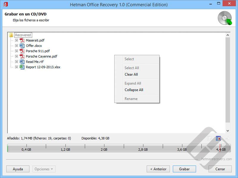 Hetman Office Recovery: Selección de archivos para Burning disco