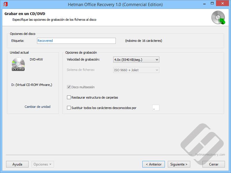 Hetman Office Recovery: Opciones de DVD