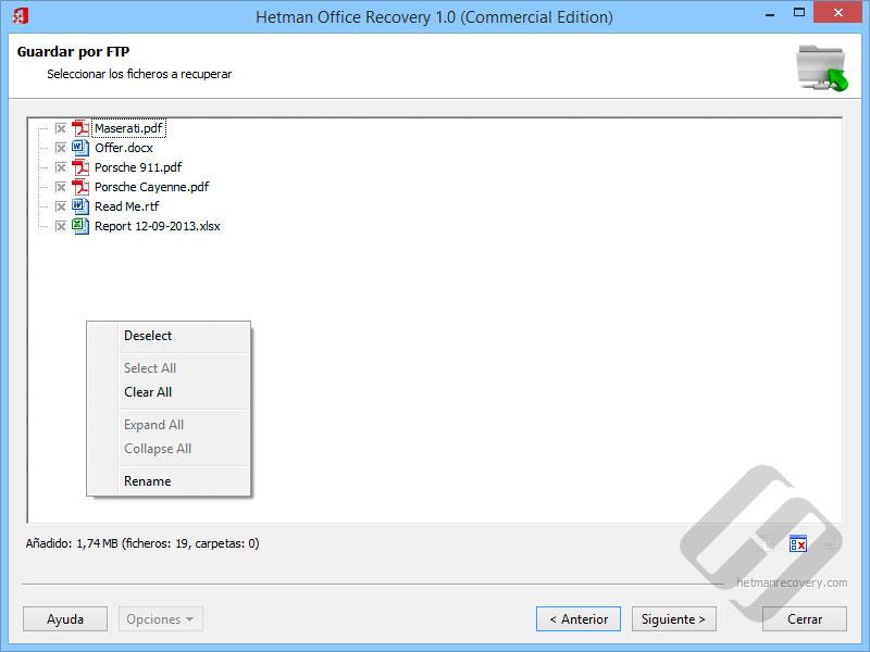 Hetman Office Recovery: Selección de archivos para la carga