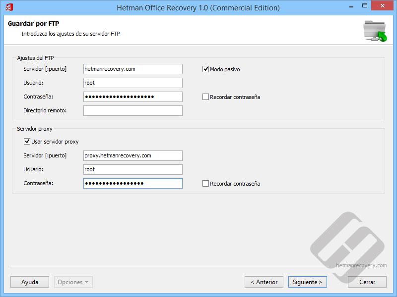 Hetman Office Recovery: Servidor FTP Autorización