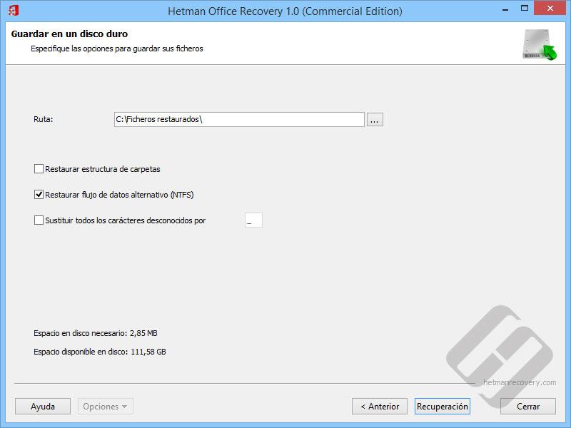 Hetman Office Recovery: Guardar archivos en el disco duro