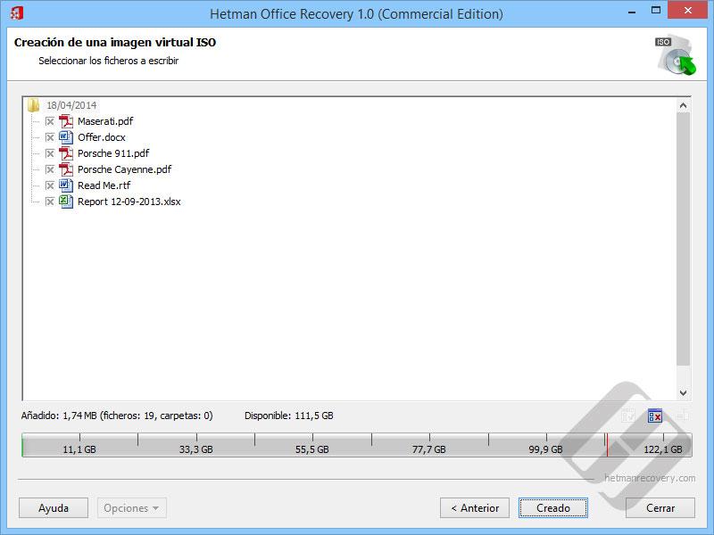 Hetman Office Recovery: Selección de archivos de la ISO