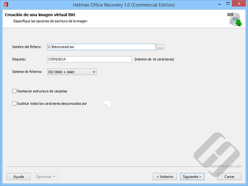 Hetman Office Recovery: Opciones ISO