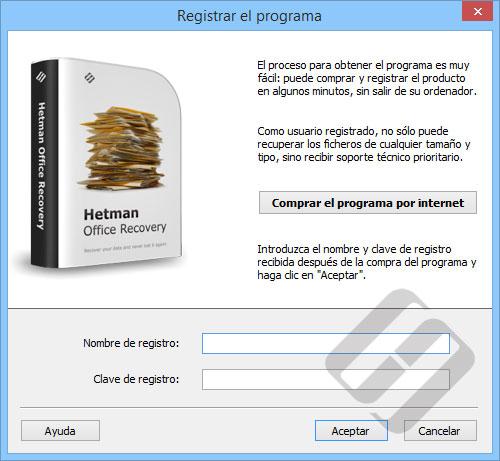 Hetman Office Recovery: formulario de inscripción