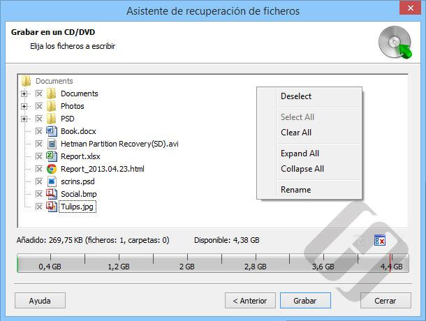Hetman Partition Recovery: La quema de archivos en CD / DVD