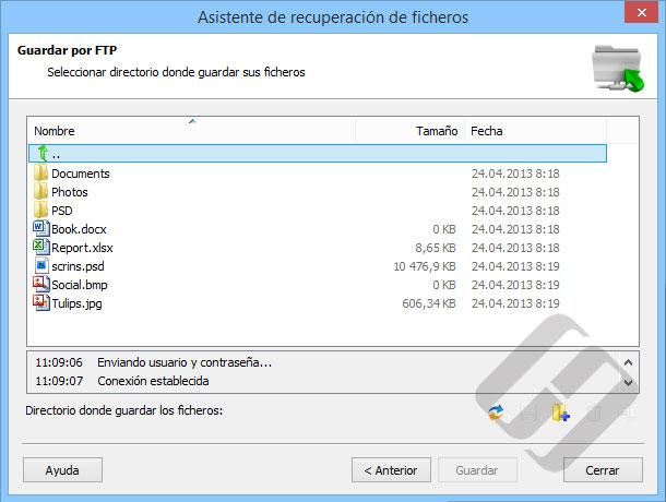 Hetman Partition Recovery: Guardar archivos en un servidor FTP