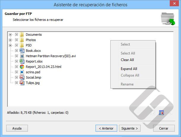 Hetman Partition Recovery: Selección de archivos para la carga