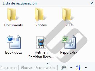 Hetman Partition Recovery: Lista de archivos