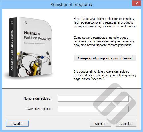 Hetman Partition Recovery: formulario de inscripción