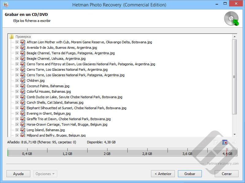 Hetman Photo Recovery: Selección de archivos de CD o DVD Burning