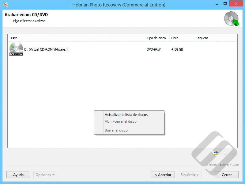 Hetman Photo Recovery:  La elección de CD o DVD-Rom