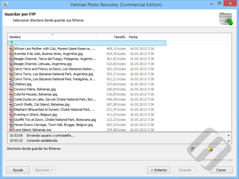 Hetman Photo Recovery:  La elección de Directorio en el servidor FTP
