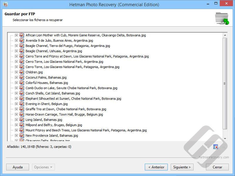 Hetman Photo Recovery: La elección de archivos para la carga