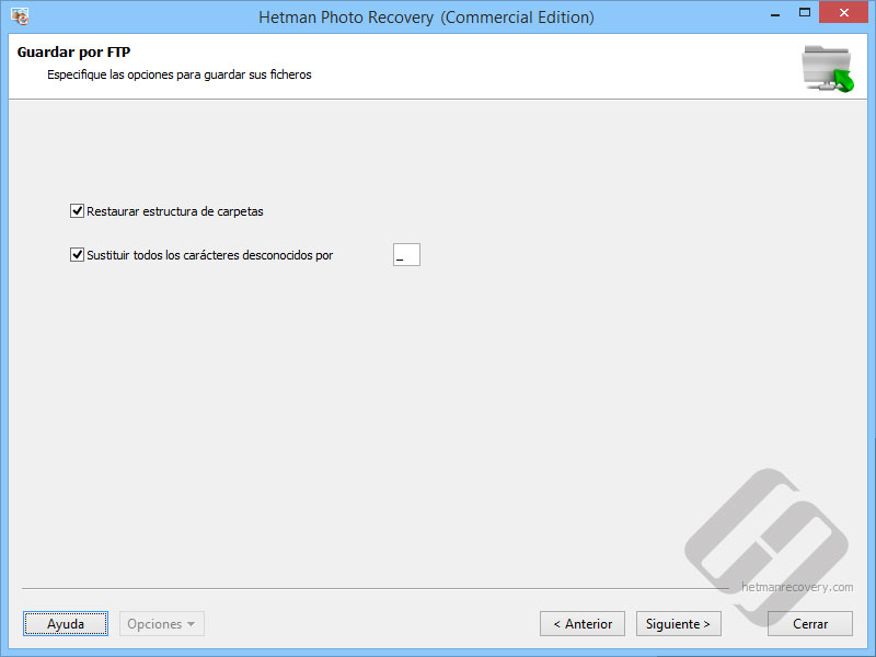 Hetman Photo Recovery:  Opciones FTP