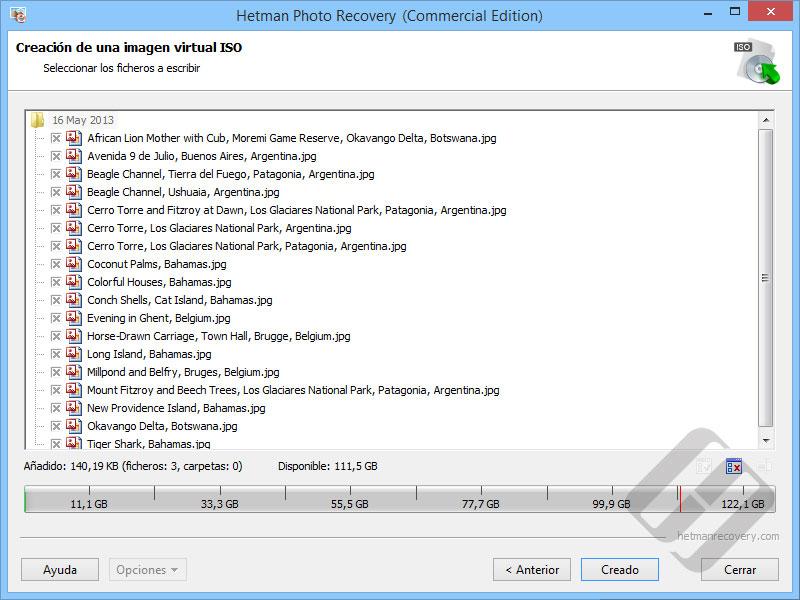 Hetman Photo Recovery:  Selección de archivos para la Creación ISO