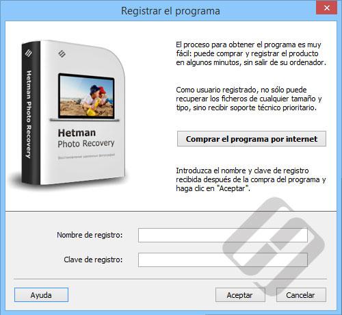Hetman Photo Recovery: formulario de inscripción