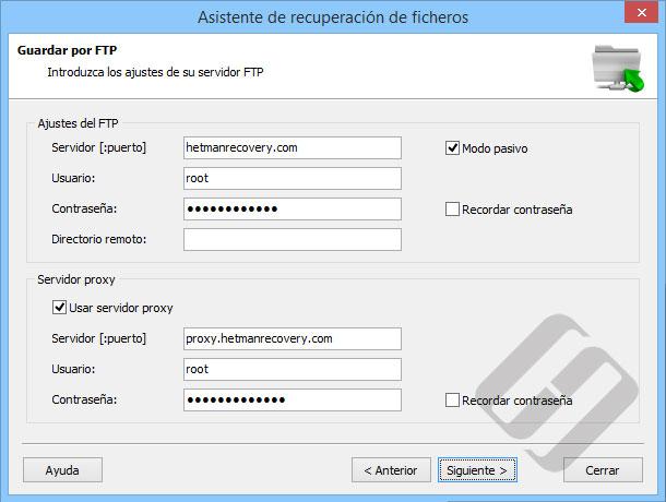 Hetman Uneraser: Opciones FTP