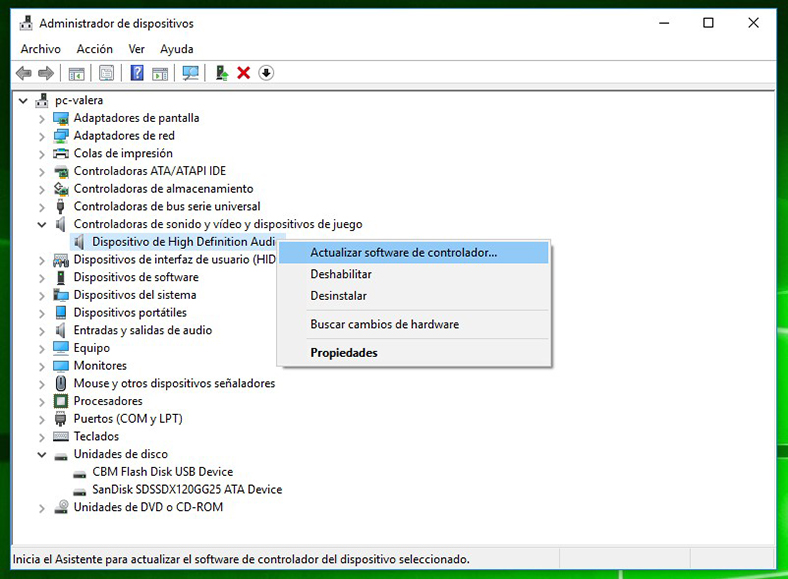 Administrador de dispositivos en Windows 10