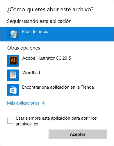 Abrir con en Windows 10