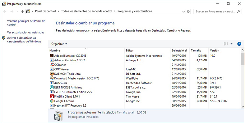 Programas y características en Windows 10