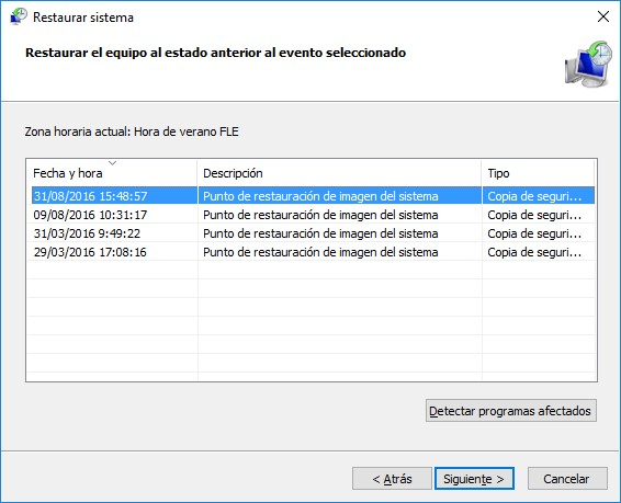 Asistente para Restaurar sistema en Windows 10