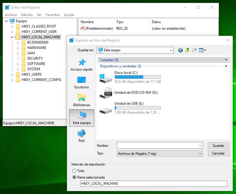 Exportar archivo del registro en Windows 10