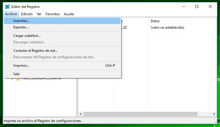 Editor del Registro de Windows 10: Menú Archivo / Importar