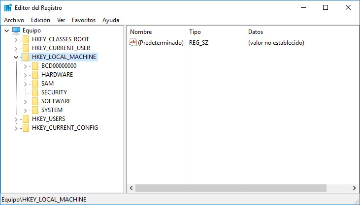 Regedit abierto en Windows 10