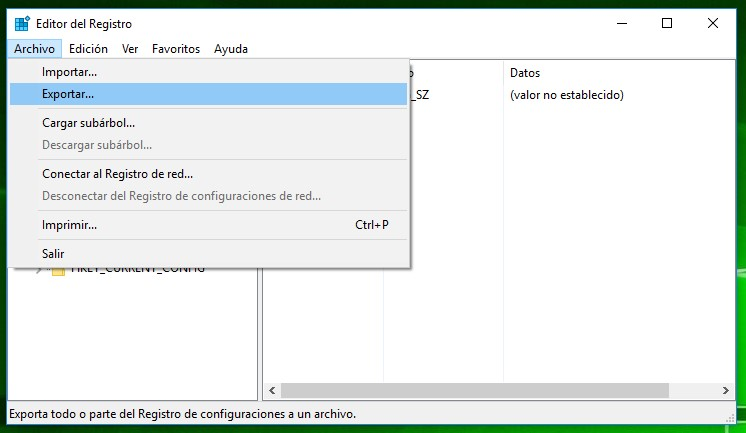 Editor de registro de Windows 10