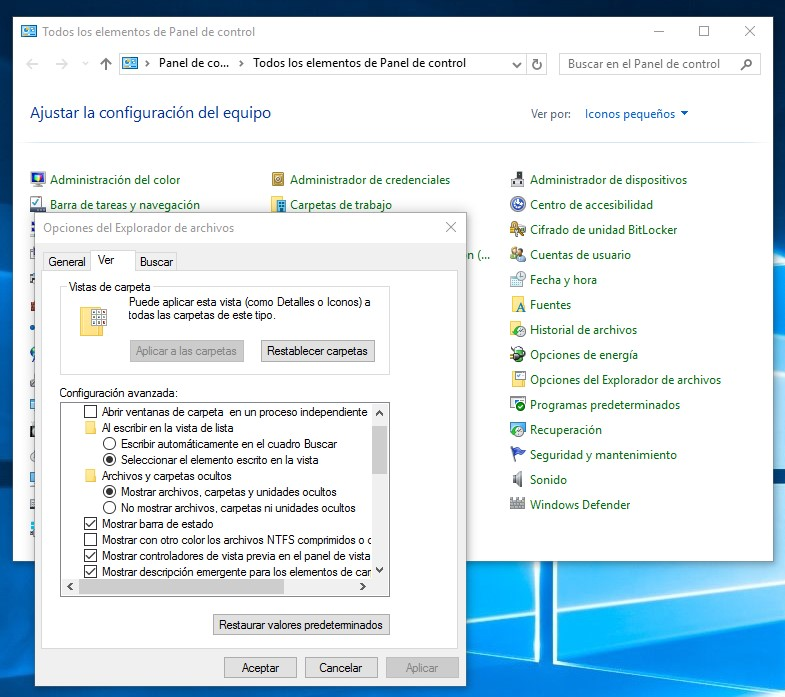 Carpeta de configuración en Windows 10