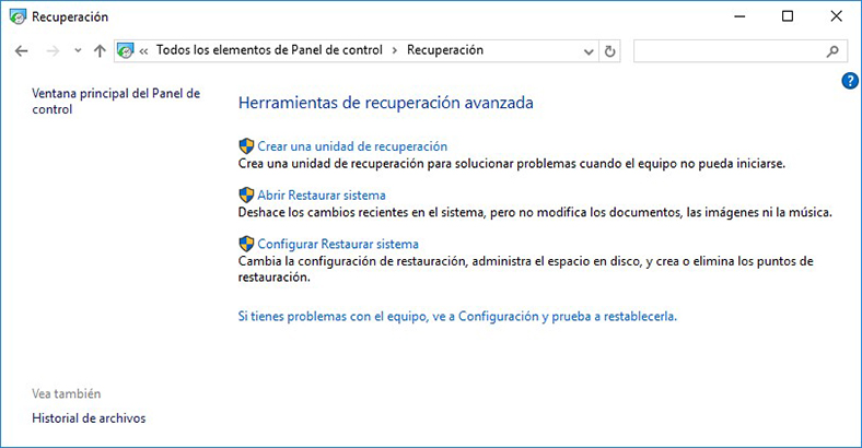 Configurar Restaurar sistema Windows 10