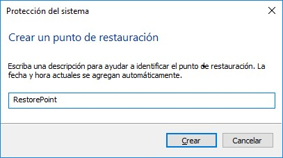 La creación de un punto de restauración de Windows 10