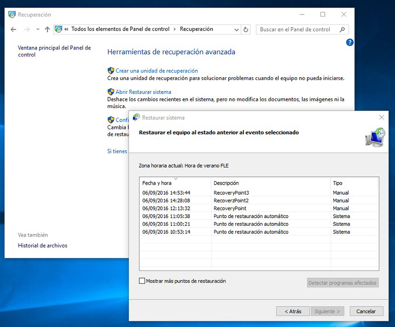A partir de restauración del sistema en Windows 10