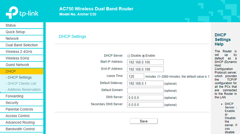 Configuring Wi-Fi Router TP Link AC 750 Archer C20: Internet, Wi-Fi, DHCP,  Password