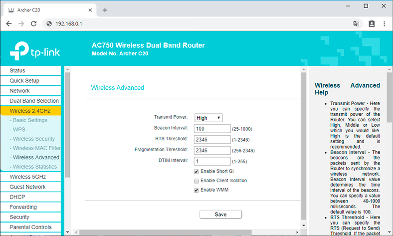 Configuring Wi-Fi Router Mode for TP Link AC 750 Archer C20