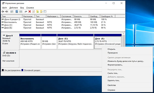 Disk Management / Delete Volume