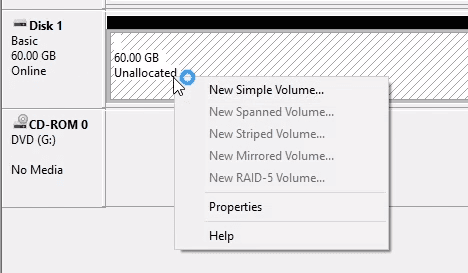 Disk Management. Create New Simple Volume.