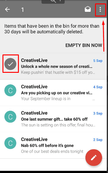 Gmail. Find the removed email in the Bin