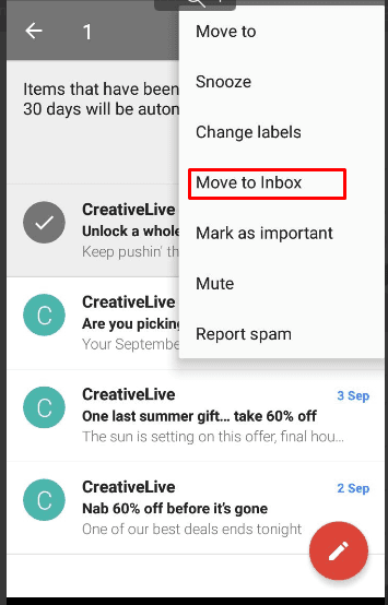 Gmail. Move to Inbox